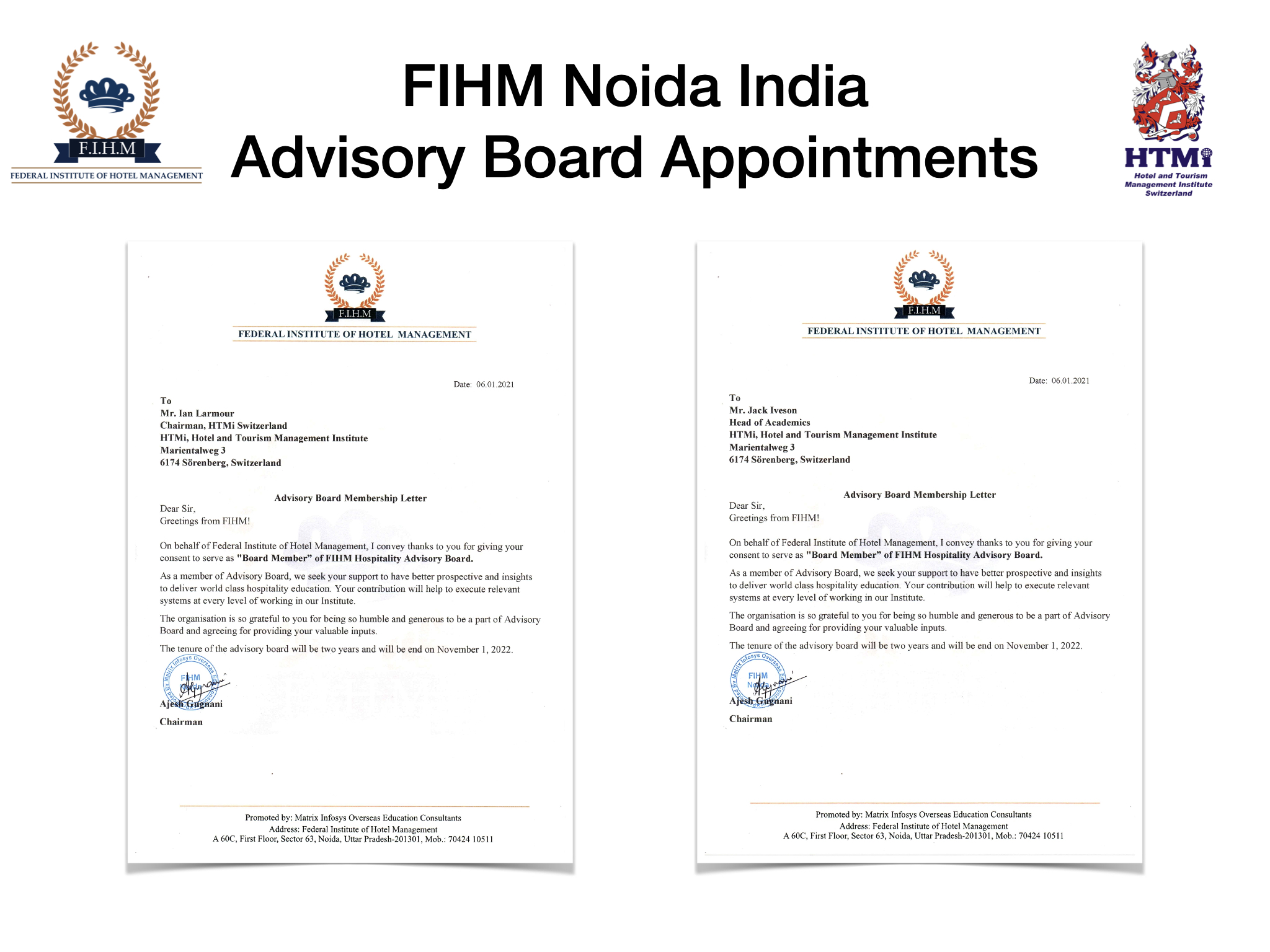 FIHM Noida India, Advisory Board Appointments