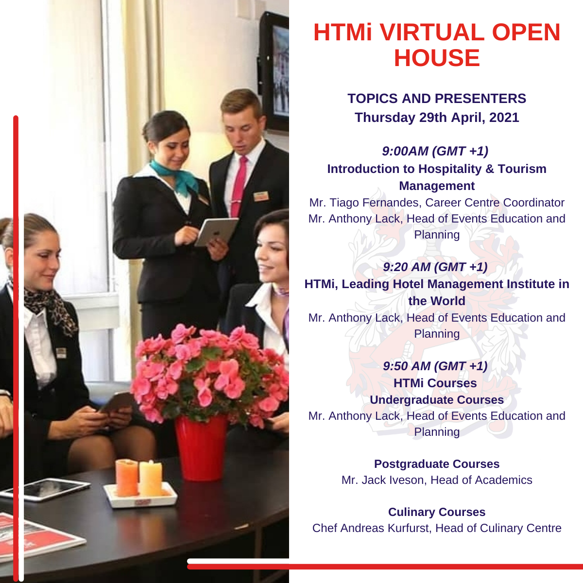 Topics and Presenters – 2021 Virtual Open House Event – Spring 2021